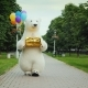 A Large Polar Bear Walks Down the Street, Carries Balloons and a Box with a Gift. Birthday Gifts and - VideoHive Item for Sale
