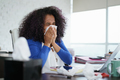 Black Woman Working from Home And Sneezing For Cold - PhotoDune Item for Sale
