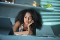 Tired Black Woman Studying At Home With Laptop Pc - PhotoDune Item for Sale