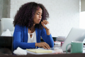 African American Woman Working At Home Coughing And Sneezing - PhotoDune Item for Sale