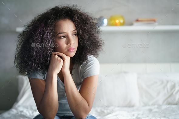 Depressed Hispanic Girl With Sad Emotions And Feelings - Stock Photo - Images