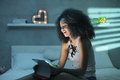 Young Black Woman Watching Movie With Laptop At Night - PhotoDune Item for Sale