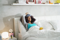 Black Woman With Flu And Cold Holding Ice Bag - PhotoDune Item for Sale