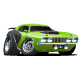 Mean Green Seventies Style Muscle Car Cartoon