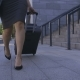 Legs of Business Woman Walking with Suitcase - VideoHive Item for Sale
