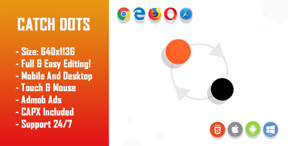 Catch Dots - HTML5 Game + Mobile Version! (Construct-2 CAPX)            Nulled
