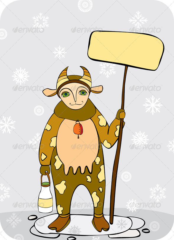 Man Winter Cow Costume Plate - Characters Vectors