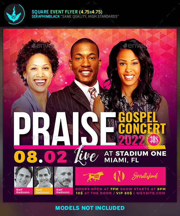 Praise Gospel Concert Flyer Template By Seraphimblack Graphicriver