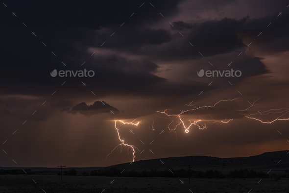 Lightning storm over field in Roswell New Mexico - Stock Photo - Images