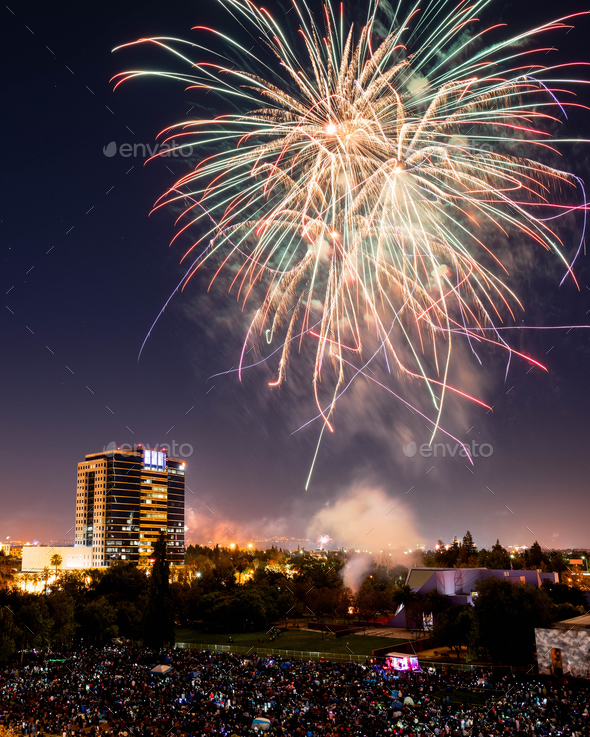Fourth of July Celebration Fireworks over Downtown San Jose - Stock Photo - Images