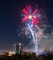 People gather to watch the fireworks in Discovery Meadow Park in San Jose - PhotoDune Item for Sale