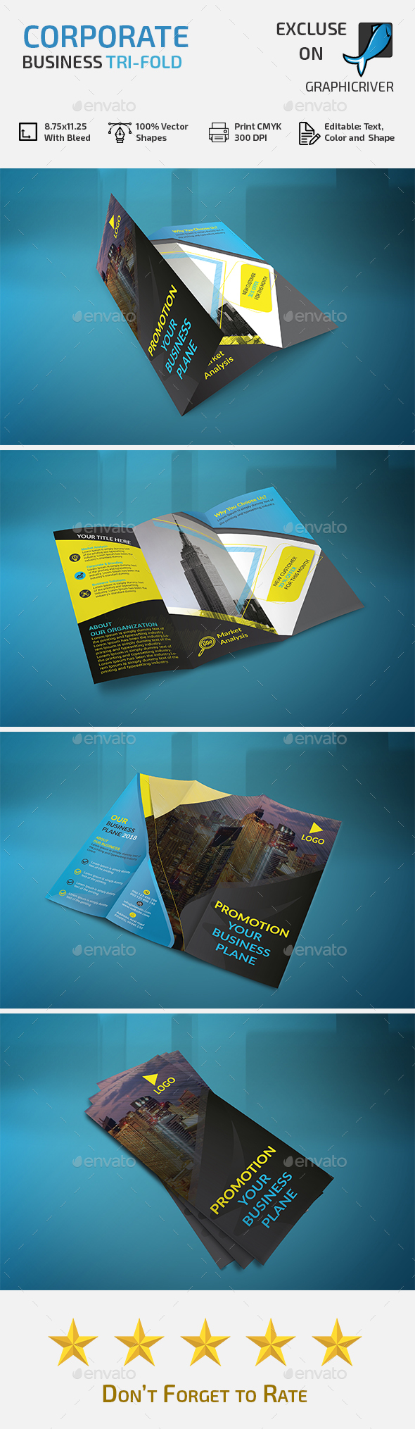 Corporate Trifold Business Brochure - Brochures Print Templates