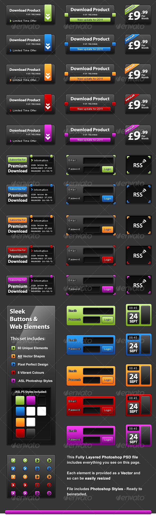Slick UI Elelments - Web Design Interface Elements - Miscellaneous Web Elements