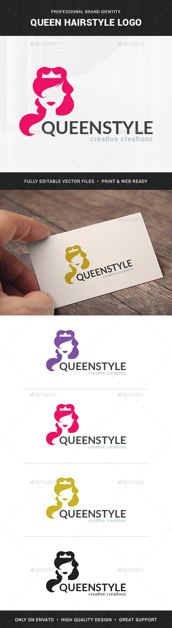Queen Hairstyle Logo Template - Humans Logo Templates