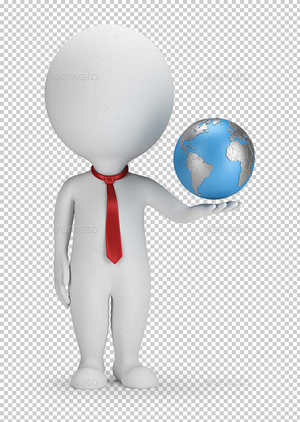 3D Small People - Manager and Earth - Characters 3D Renders