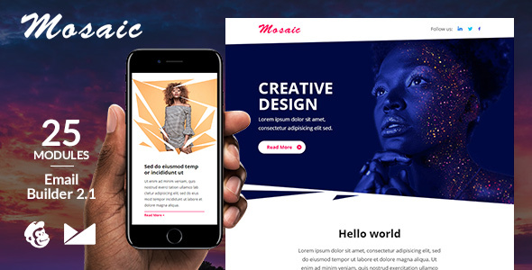 Image of Mosaic Responsive Email Template + Online Emailbuilder 2.1