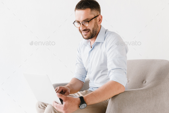 Horizontal portrait of bearded caucasian guy wearing stylish for - Stock Photo - Images