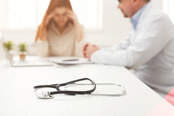 Stethoscope on the desk, selective focus - Stock Photo - Images