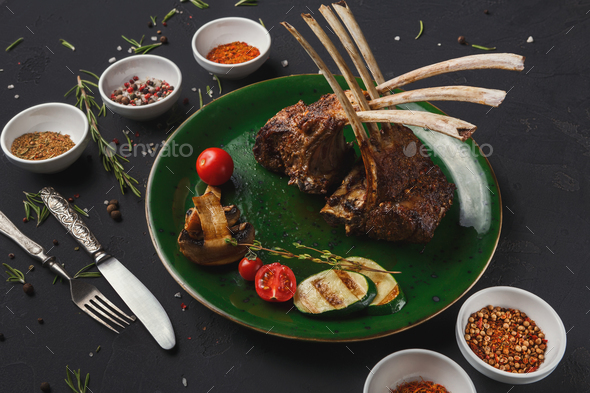 Rack of Lamb with grilled vegetables - Stock Photo - Images