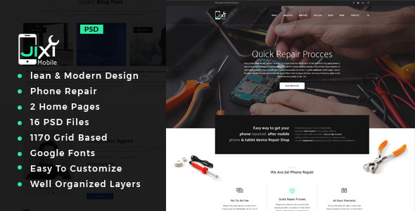 Jixi : Phone Repair PSD Template - Electronics Technology