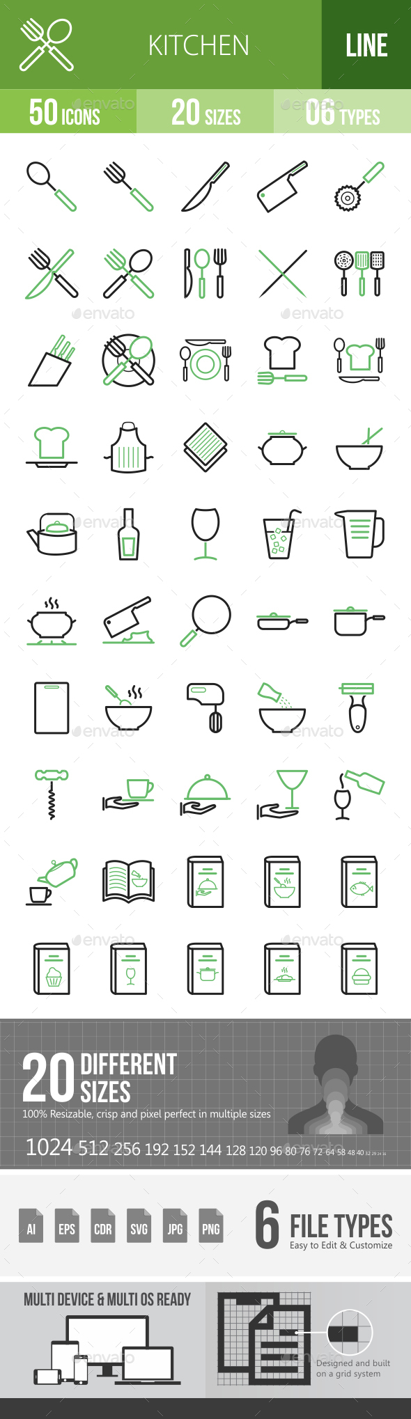 Kitchen Line Green & Black Icons - Icons