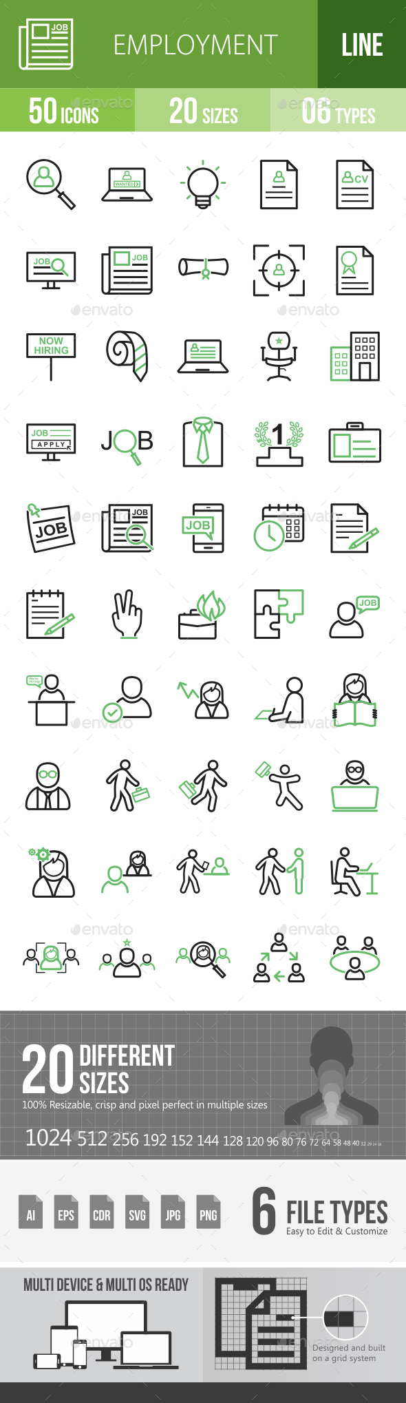 Employment Line Green & Black Icons - Icons