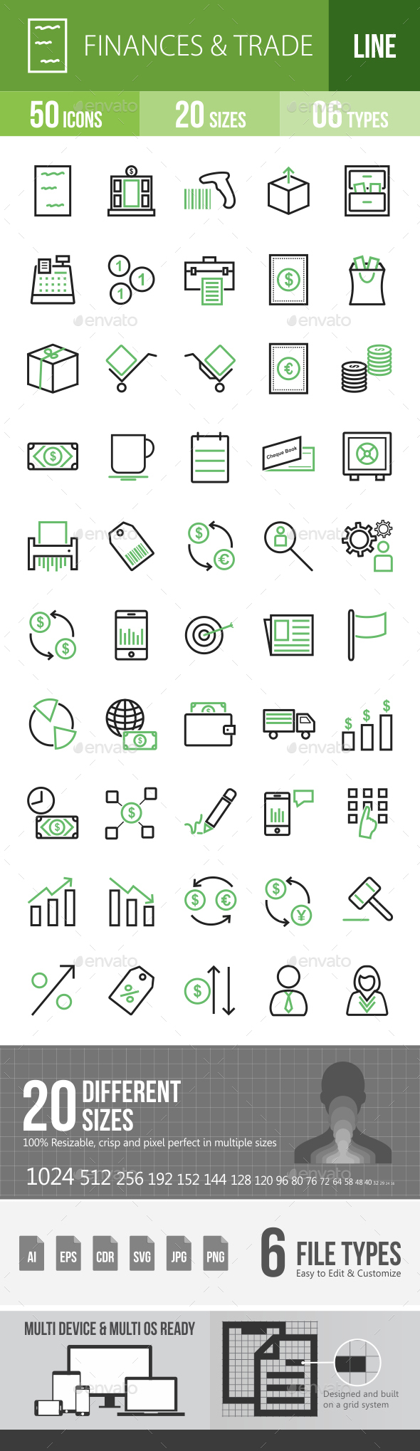 Finances & Trade Line Green & Black Icons - Icons