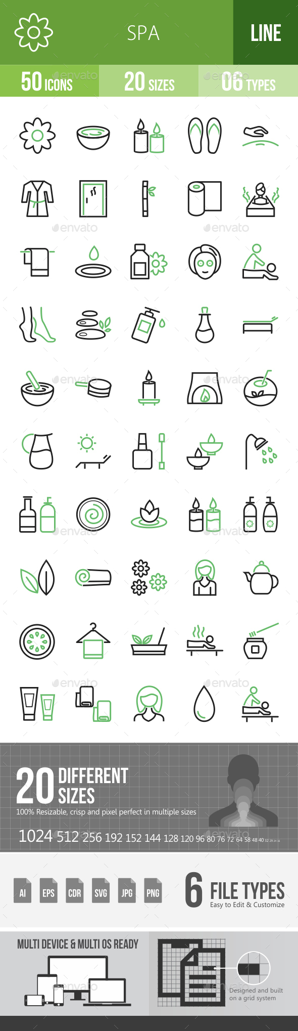 Spa Line Green & Black Icons - Icons
