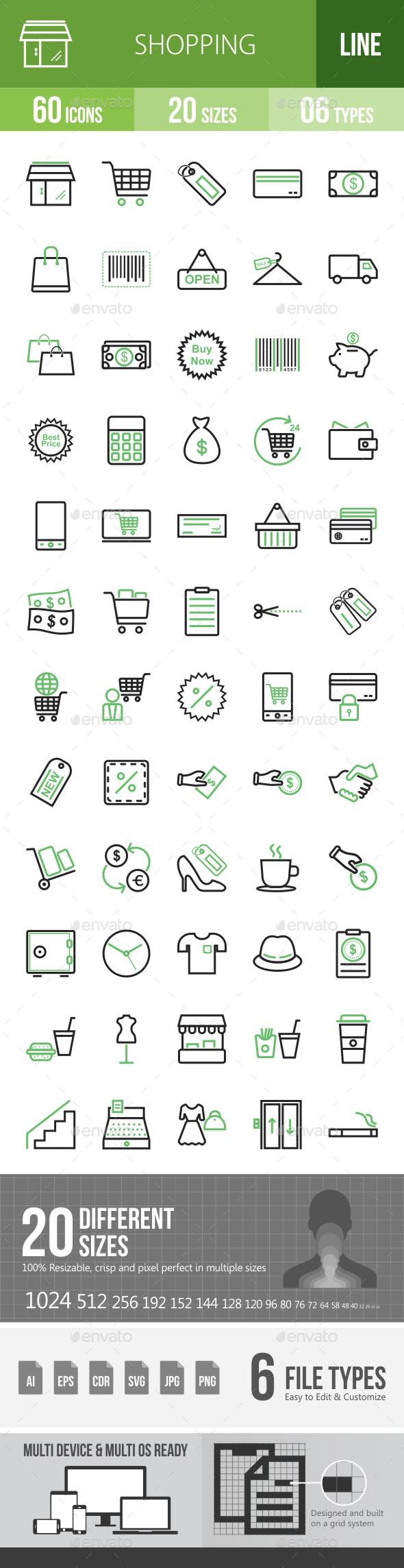 Shopping Line Green & Black Icons - Icons