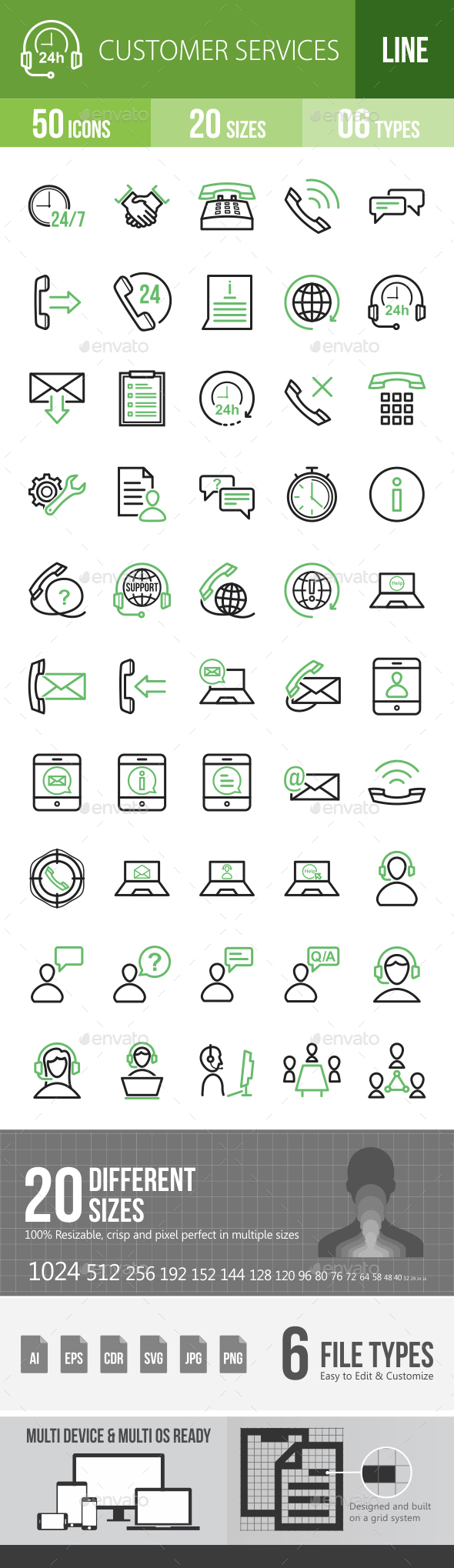 Customer Services Line Green & Black Icons - Icons