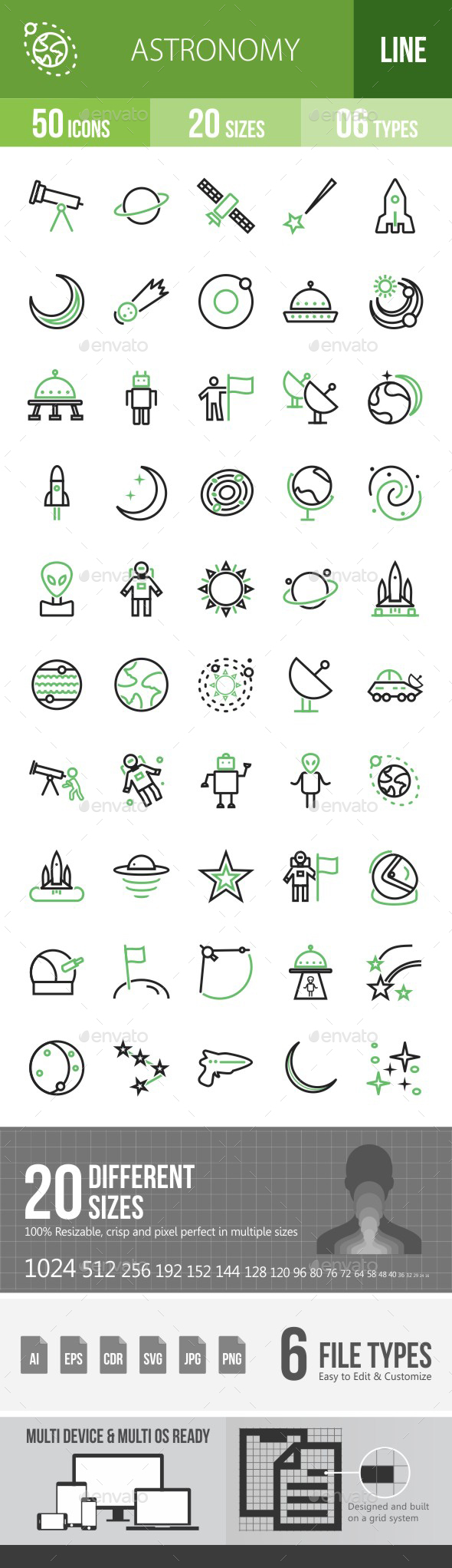 Astronomy Green & Black Icons - Icons