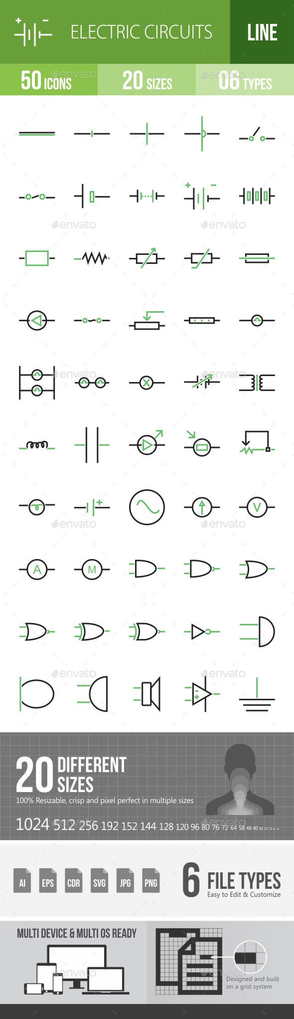 Electric Circuits Green & Black Icons - Icons