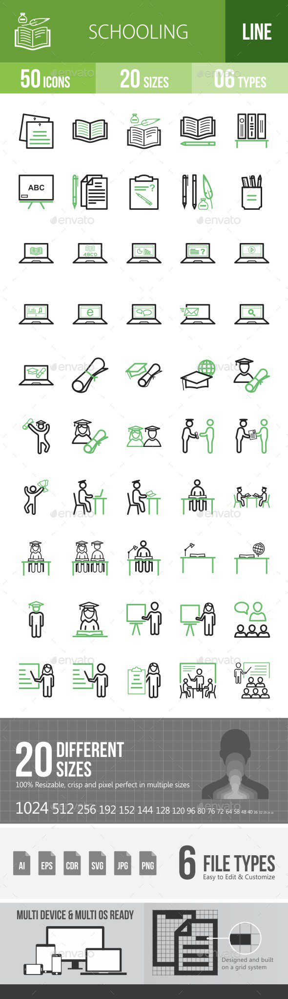 Schooling Green & Black Icons - Icons