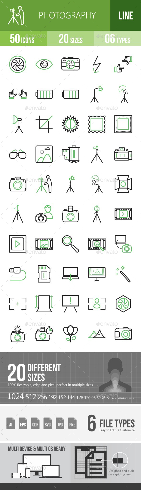 Photography Green & Black Icons - Icons