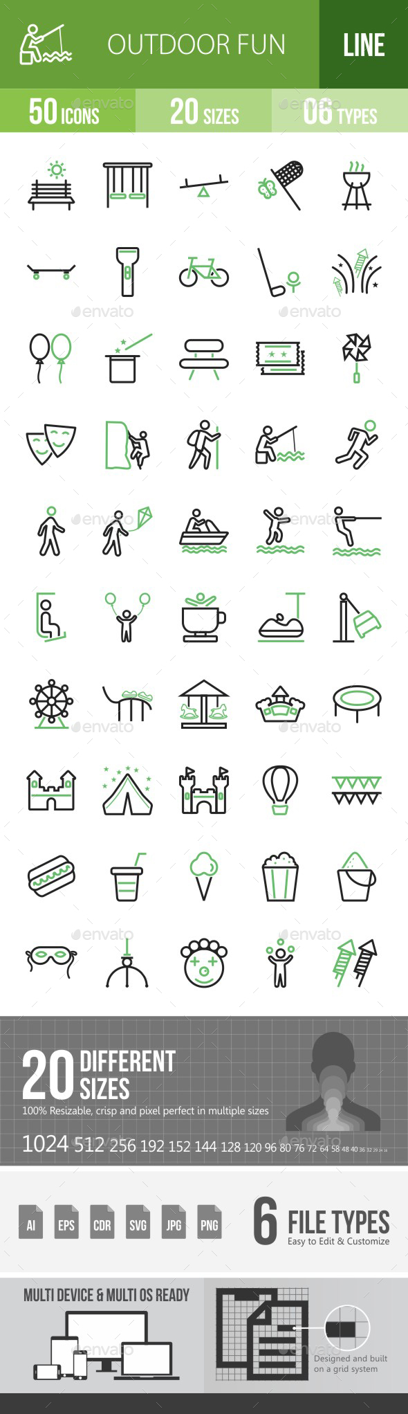 Outdoor Fun Green & Black Icons - Icons