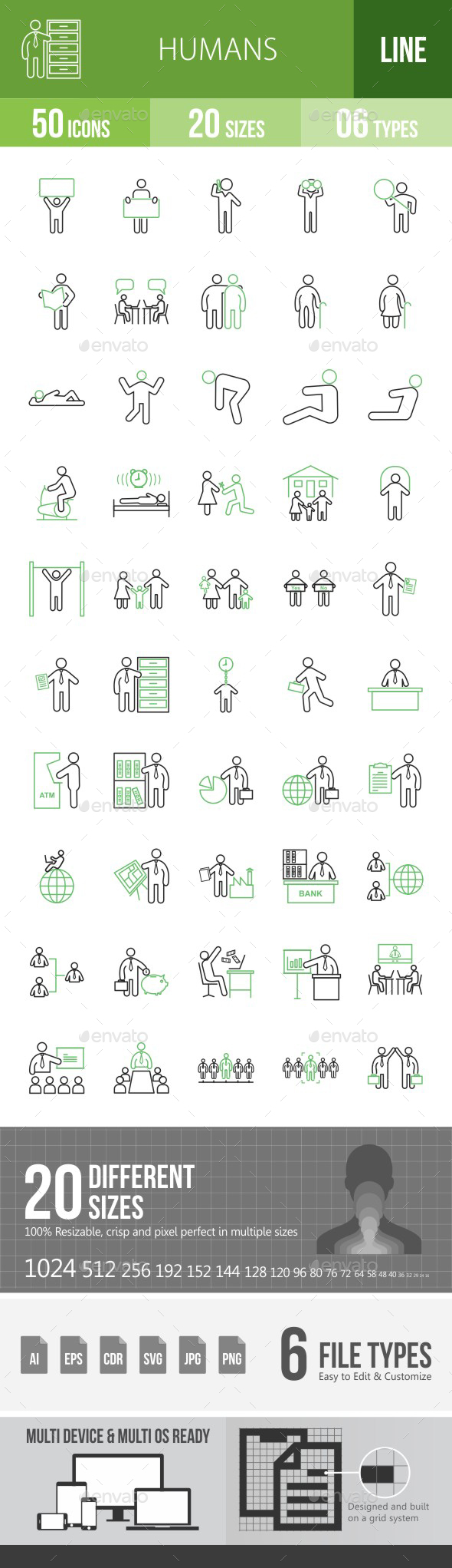 Humans Green & Black Icons - Icons