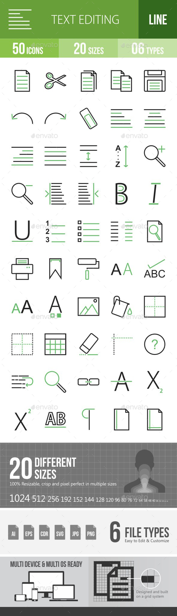 Text Editing Green & Black Icons - Icons