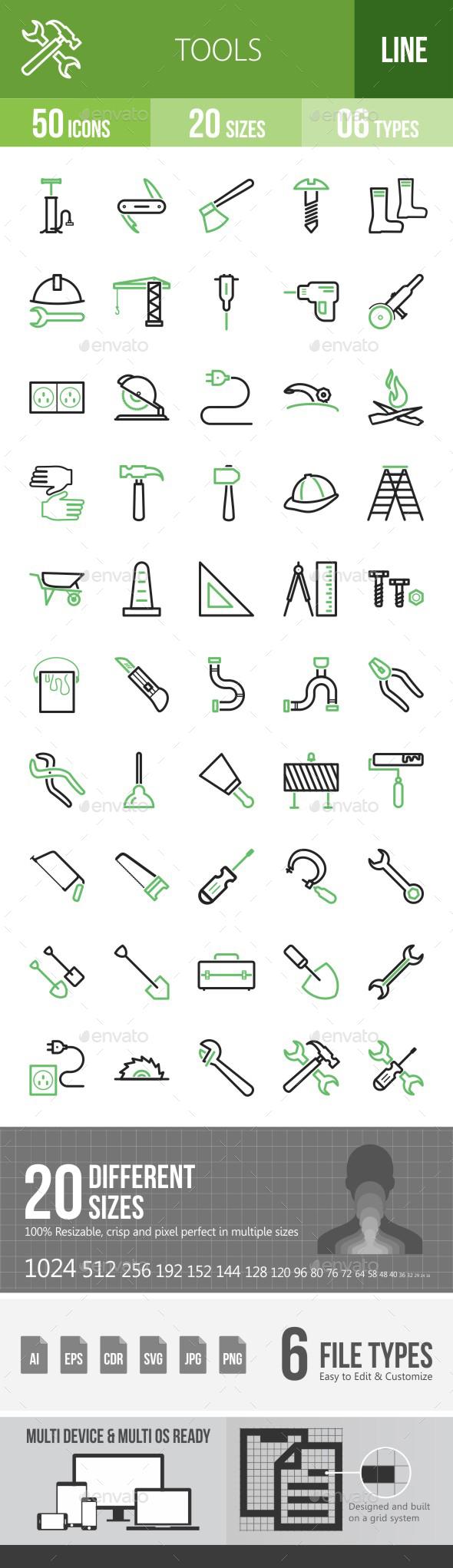 Tools Green & Black Icons - Icons