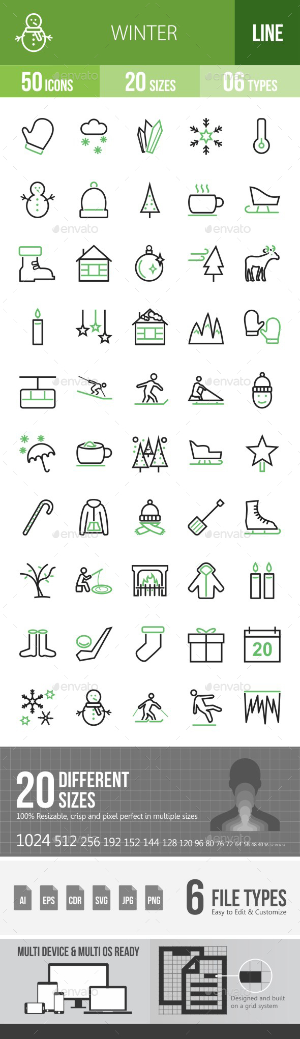 Winter Green & Black Icons - Icons