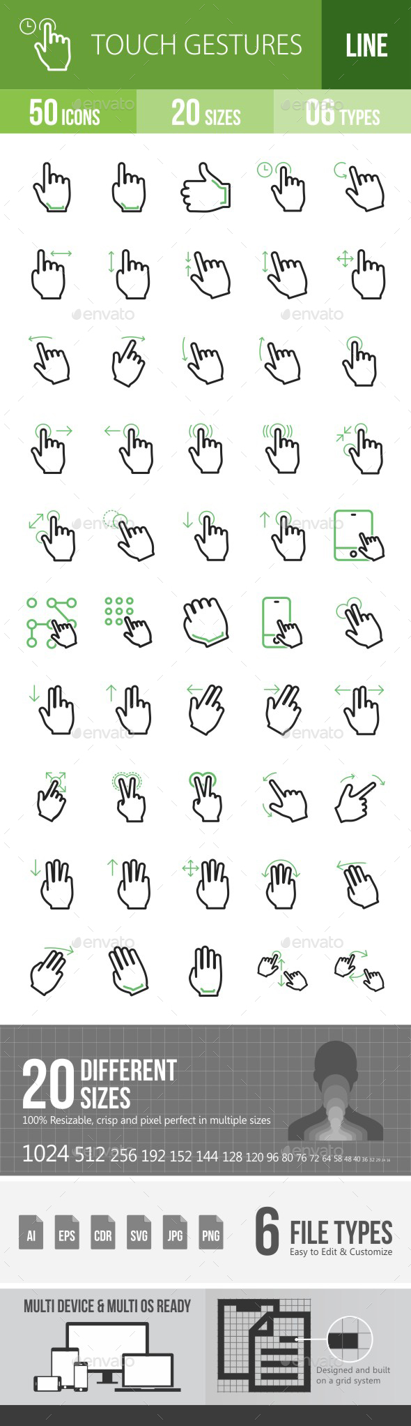 Touch Gestures Green & Black Icons - Icons