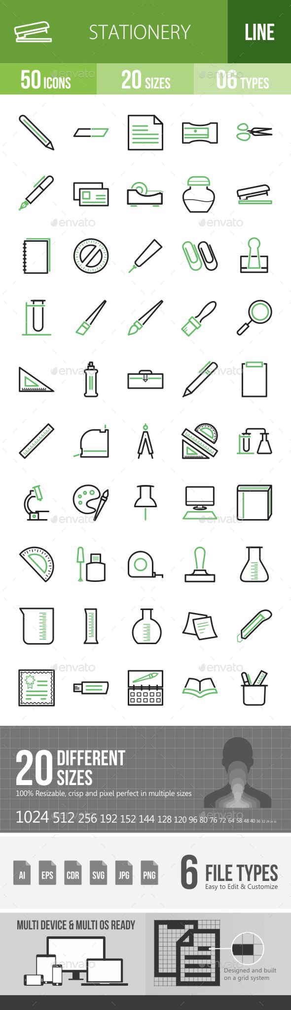 Stationery Green & Black Icons - Icons