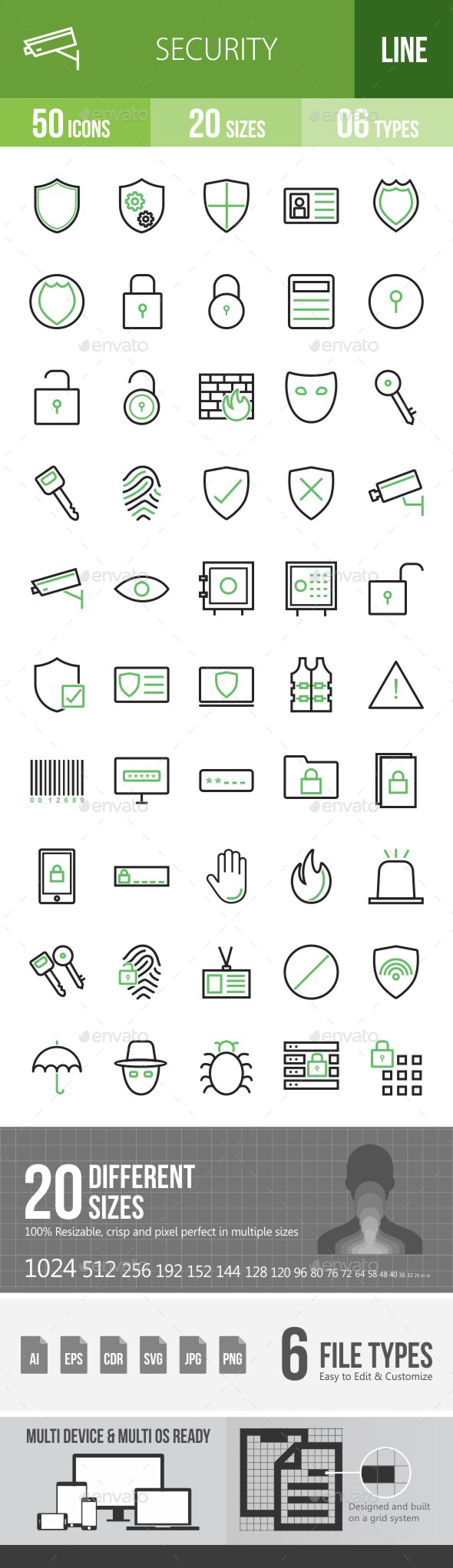 Security Green & Black Icons - Icons