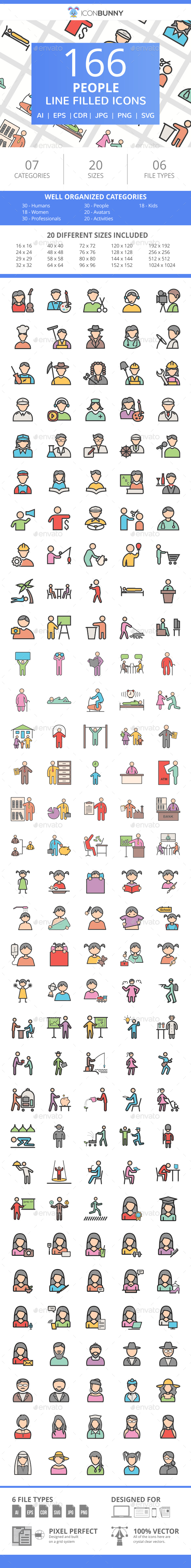 166 People Filled Line Icons - Icons