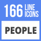 166 People Filled Line Icons - GraphicRiver Item for Sale