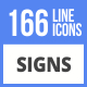166 Signs Filled Line Icons - GraphicRiver Item for Sale