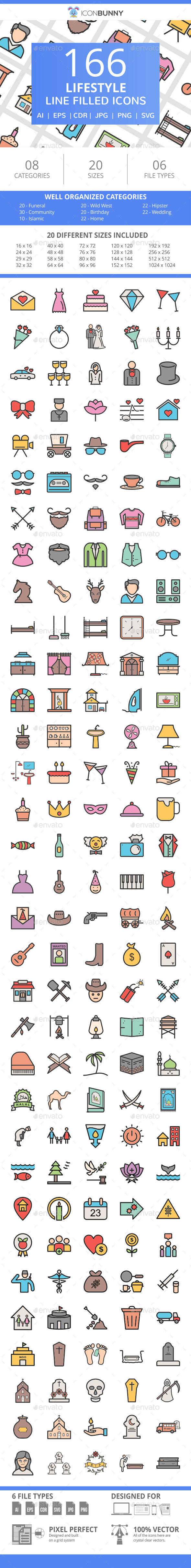 166 Lifestyle Filled Line Icons - Icons