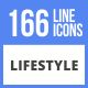 166 Lifestyle Filled Line Icons - GraphicRiver Item for Sale