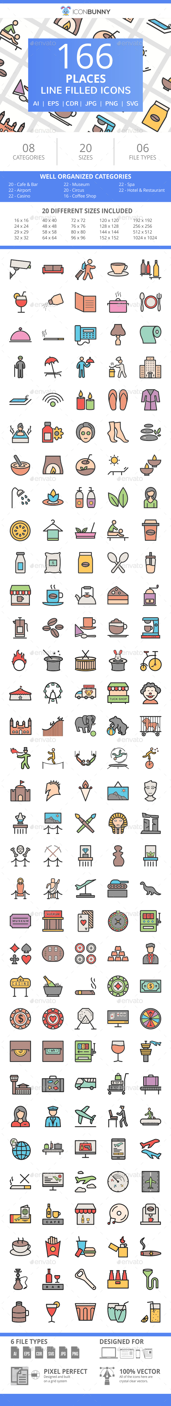 166 Places Filled Line Icons - Icons