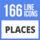 166 Places Filled Line Icons - GraphicRiver Item for Sale
