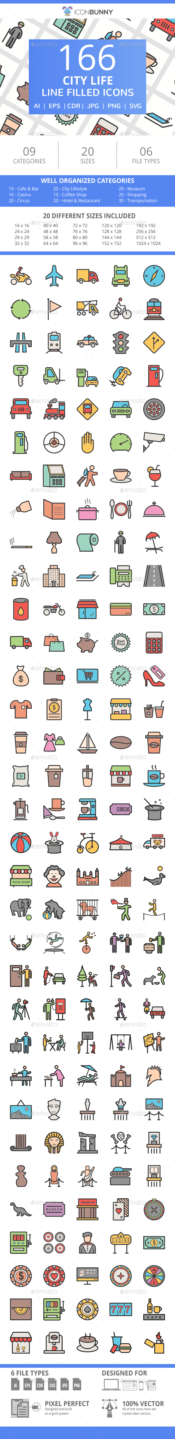166 City Life Filled Line Icons - Icons
